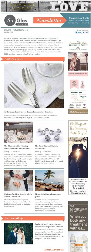 SoGlosWeddings email newsletter example
