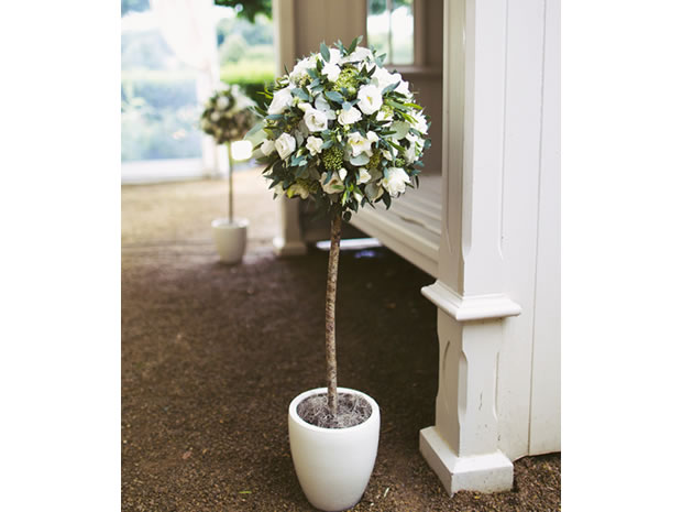 Bring Some Nature Into Your Wedding Like This Topiary Tree Of Double Lisianthus And Eucalyptus