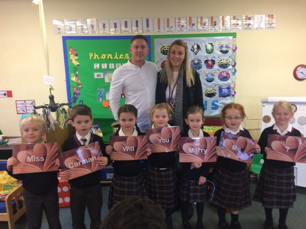 Luke Collins organised a surprise proposal with the help of pupils in his fiancée's class.