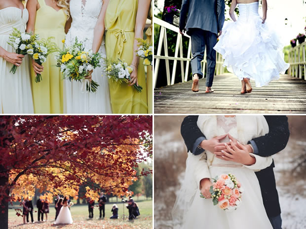 Weigh up the pros and cons of different wedding seasons before setting the date.