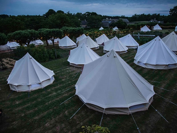 Those planning a festival-themed wedding can choose to fill the fields with bell tents for an alternative take on guest accommodation.