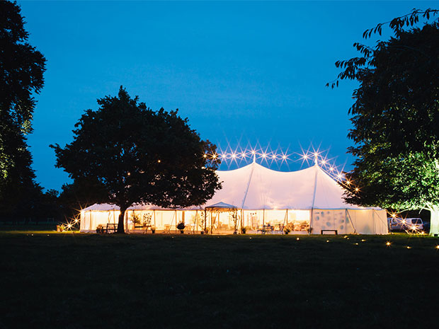 Bisley Marquees' hire services encompasses quality furniture and lovely styling such as twinkling lights. © Hermione McCosh Photography