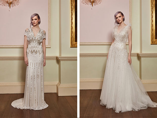 The Jenny Packham 2018 collection is just beautiful! Dare in ivory; Cosmic.