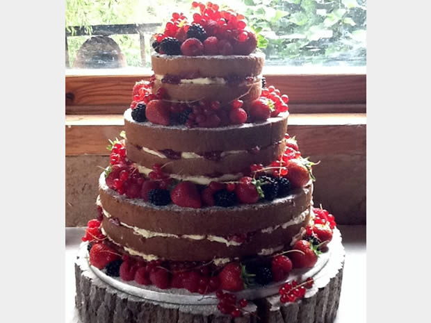 This very-berry cake is erfect for a warm winter's wedding, from Pat-a-Cake Catering Services.