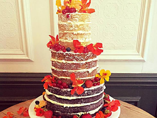 This three-tiered ombre-style cake can be found at The Pretty Cake Company.