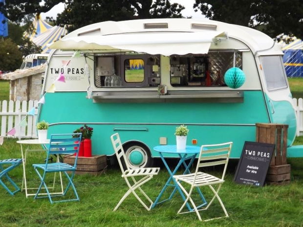 Enjoy delicious dishes served from Two Peas Street Food's stylish caravan. © Paper & Primrose.
