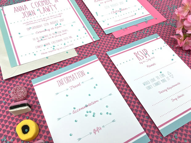Inject a bit of fun to your stationery with the modern Sencha invitations.