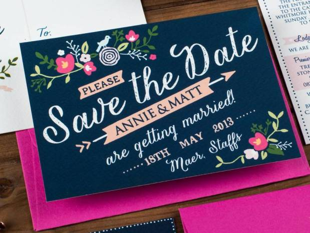 Couples planning a bright and bold theme will love this design by The Charming Press.