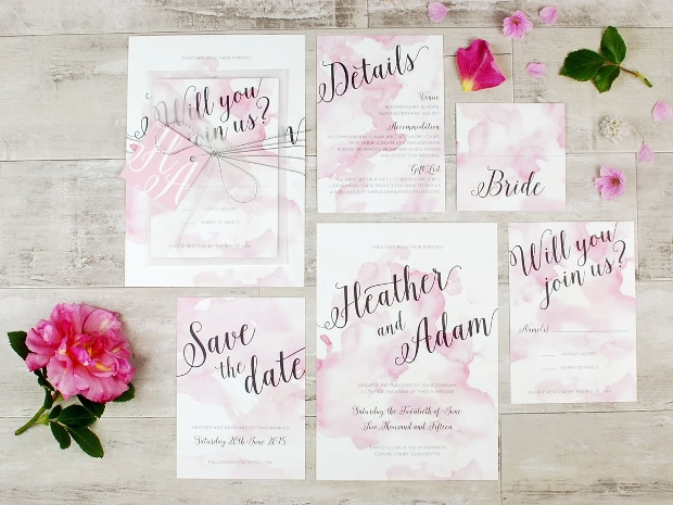 Flourish & Lace's delicately pretty Watercolour Calligraphy collection of wedding stationery.