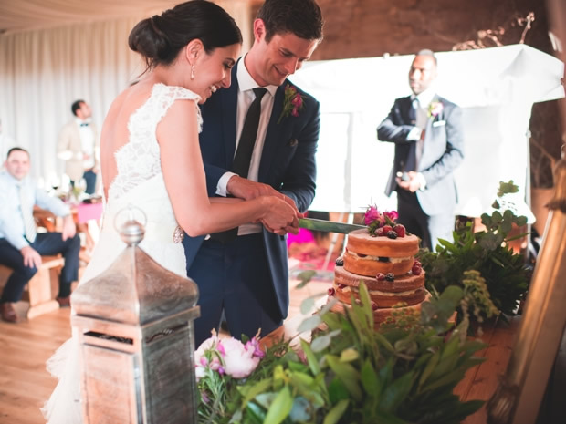 Nadia and Colin cut their wedding cake, a rose-infused sponge made by the groom's brother.