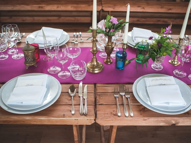 The family-style tables were decorated with jewel-toned details and sweet floral posies.