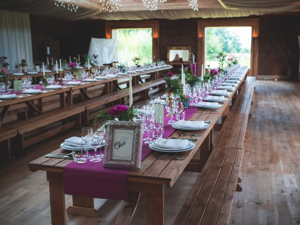 Understated white crockery paired with pops of colour suit The Gillyflower venue perfectly.