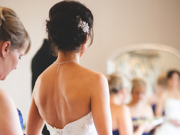 Karen opted for an elegant up do, accessorised with a pretty diamanté clip.