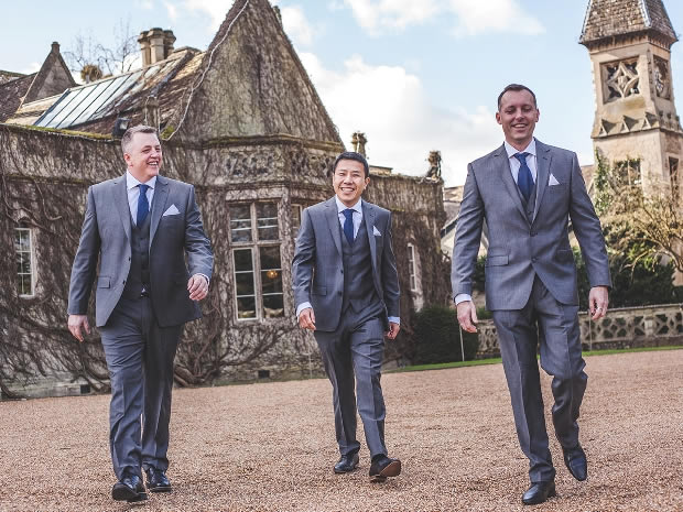 Alan and his groomsmen wore slim fit grey suits on the wedding day.