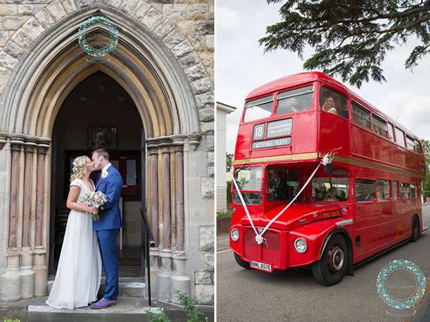 After saying 'I do', the couple travelled to the reception in a vintage Stagecoach bus.
