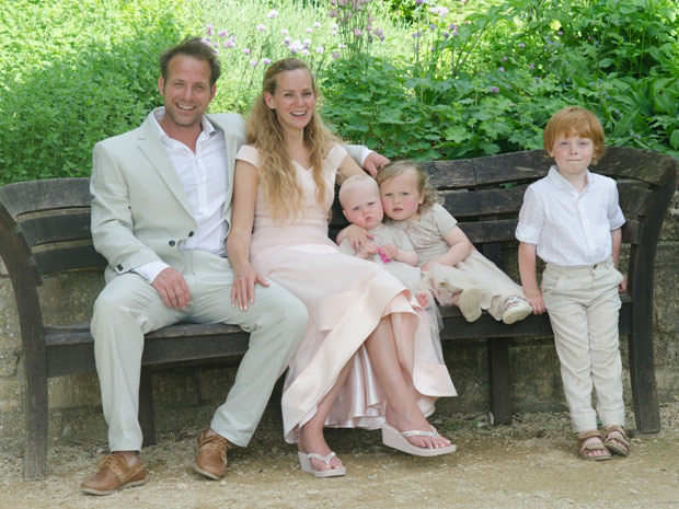 The couple's young children were a key part of the relaxed family-orientated wedding.