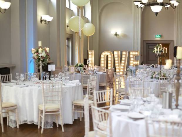 The hotel's Assembly Room is a versatile space for hosting wedding celebrations.