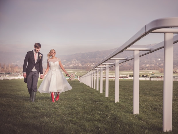 Don your wellies and head down to the race track for playful wedding photographs.